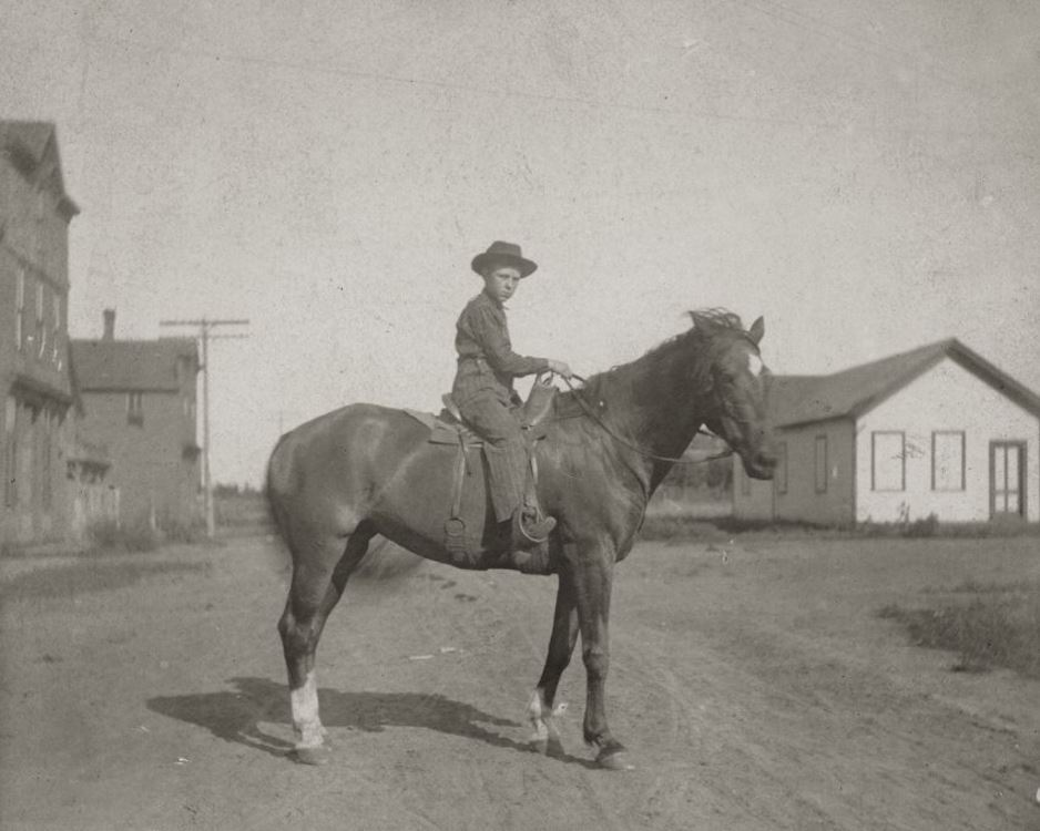 Vintage Photo of a Man on a Horse