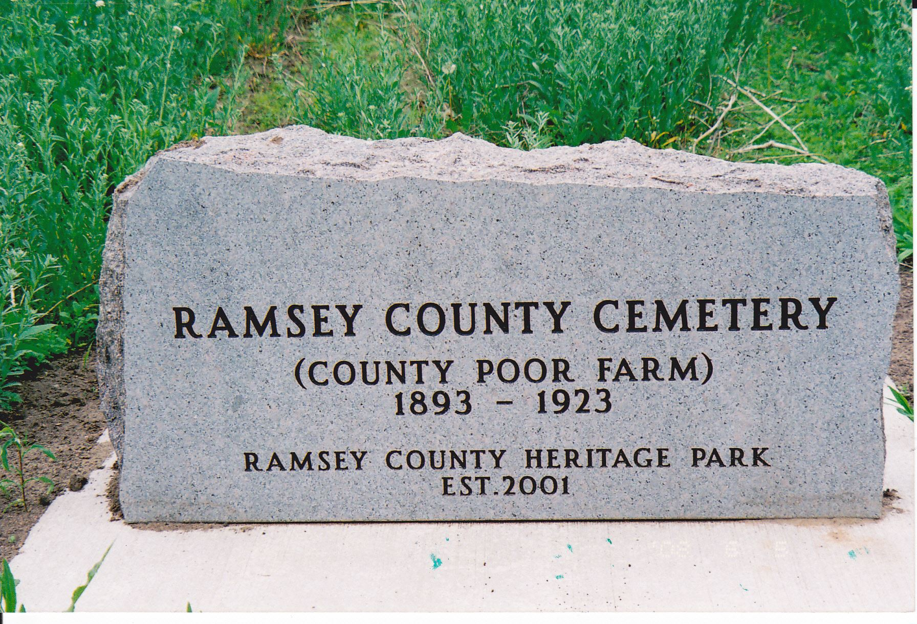 Ramsey County Cemetery (County Poor Farm) 1893 to 1923 Ramsey County Heritage Park Established 2001