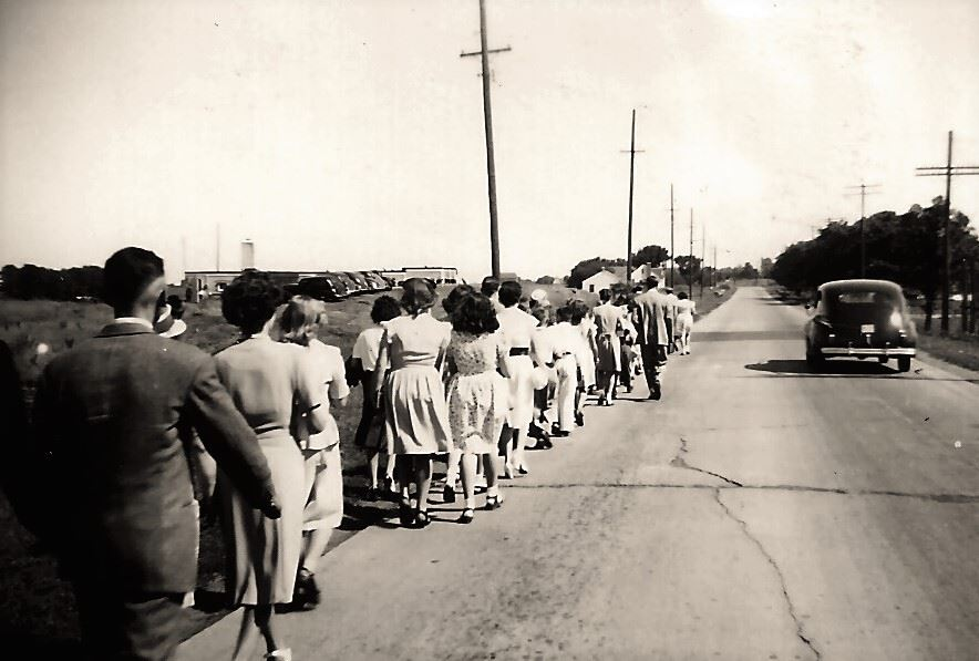 People in Line for Church