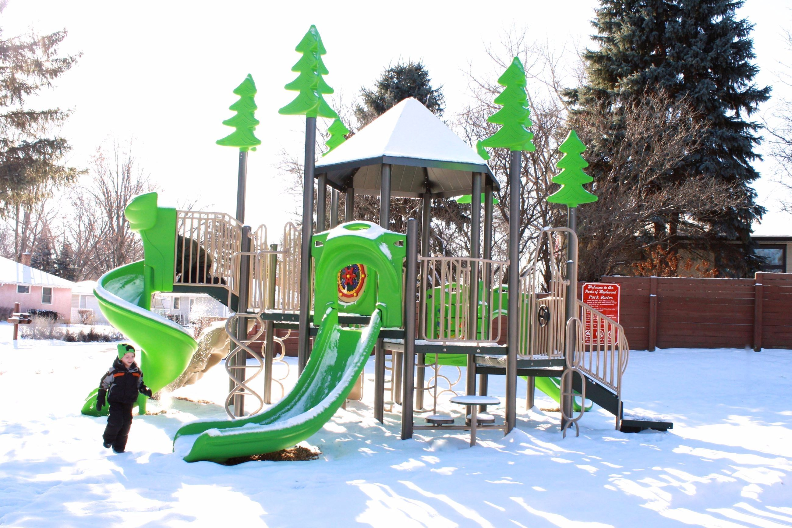 Timber Park Playground in Snow