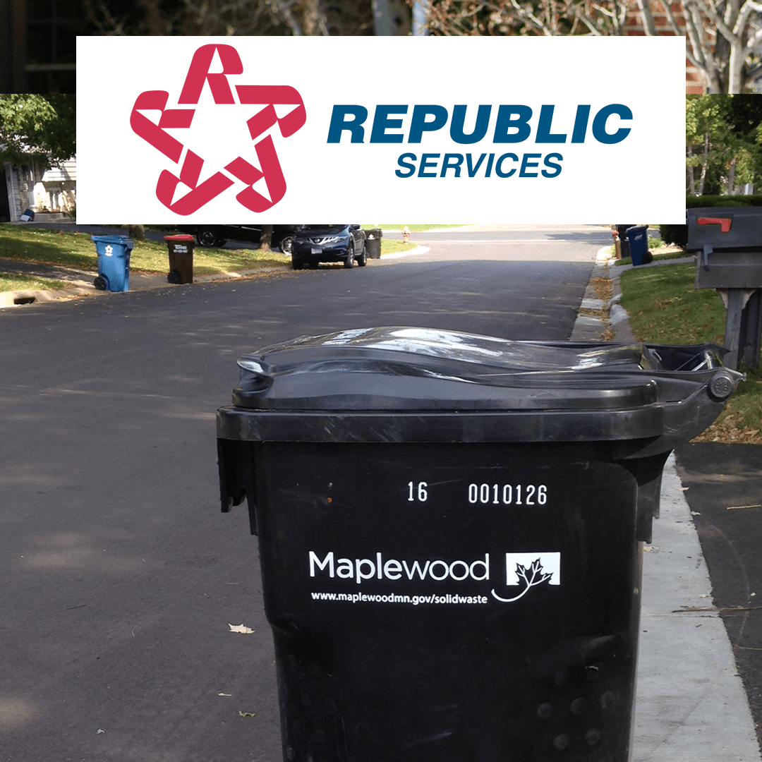 Trash cart with Republic logo