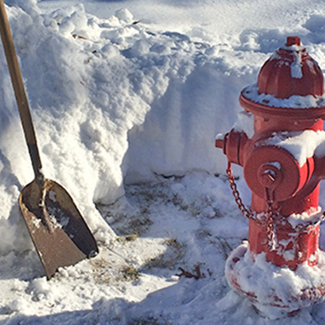 Hydrant with snow removed around it.