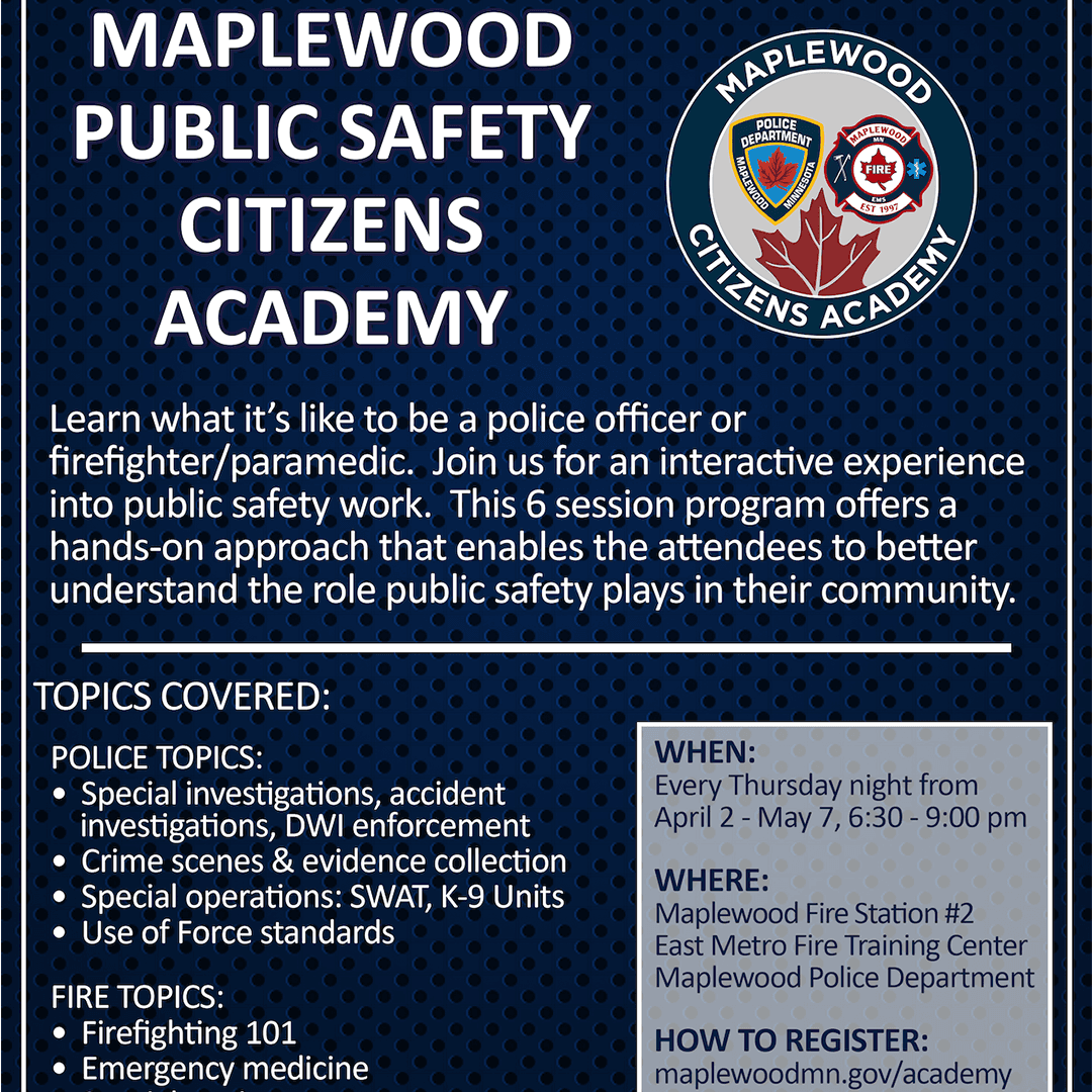 Maplewood Public Safety Citizen Academy Artboard