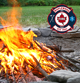 Fire pit with Maplewood Fire logo
