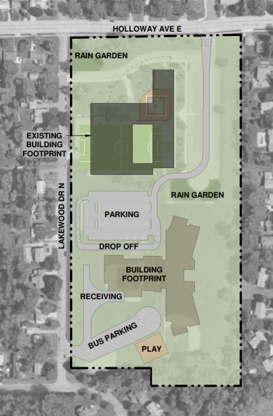 Proposed site plan for a new elementary school at 2410 Holloway.