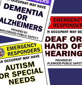 Emergency Responder Stickers layered on top of each other.