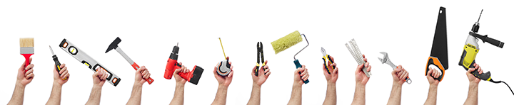 Hand Tools against a white background